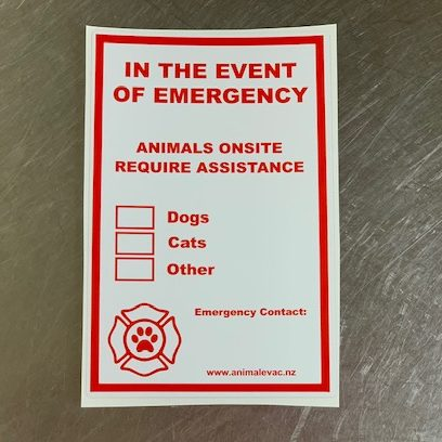 Evacuation sticker for house