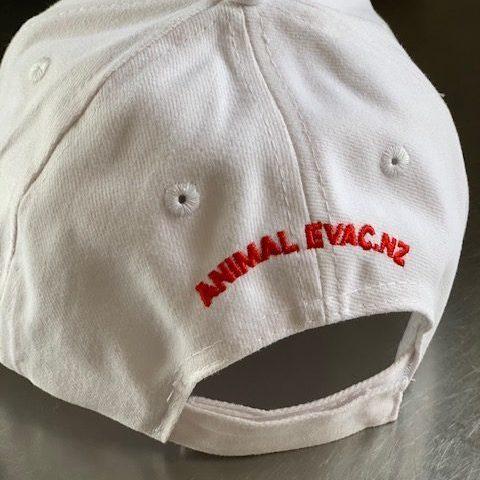 Animal Evac White Cap back view